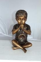 "Boy with Flute fountain bronze statue -  Size: 7""L x 11""W x 14""H. - $815.00"