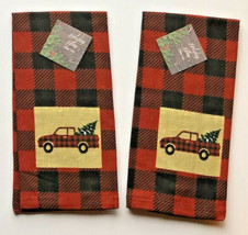 "Red Farm Truck Dish Towels Buffalo Check 16x26"" set of 2 Christmas Cabin... - $25.25"