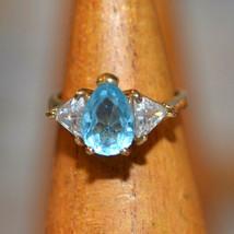 Vintage Signed AFJ 925 sterling silver ring gold vermeil size blue stone... - $19.79