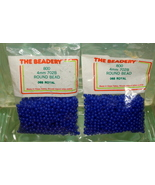 4mm ROUND BEADS THE BEADERY PLASTIC ROYAL BLUE 2 PACKAGES 1,600 COUNT - $3.99