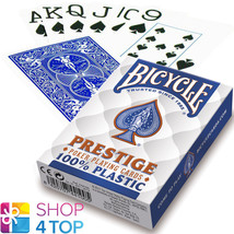 BICYCLE PRESTIGE PLAYING CARDS 100% PLASTIC DECK JUMBO INDEX BLUE POKER NEW - $11.13