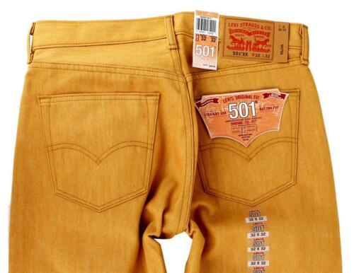 Levi's 501 Men's Original Fit Straight Leg Jeans Button Fly Gold 501-1817