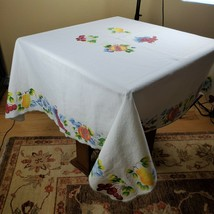 "Hand Painted Colorful Fruit Vines Flowers 60"" Square Tablecloth White Co... - $37.05"