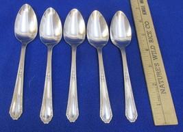 Teaspoons Spoons Marianne Silver Plate Scrolling Scroll USA Set 5 Vintage - $18.80