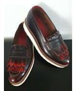 Grenson Juno Kiltie Shoes Platfrom Slip On Red Size 7 1/2 4083 Extra Light  - $79.15