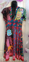 Desigual Dress Size Medium. SHORT SLEEVES.plunging neckline & back. knee... - $67.57