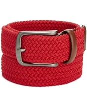 Perry Ellis Men's Webbed Leather-Trim Belt Red Size Large 38/40 - $20.62