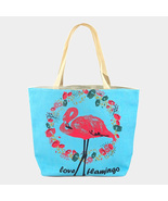 Ginga's Galleria Blue Floral Pink Flamingo Beach Tote Bag - $21.75