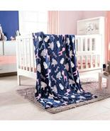 DreamPartyWorld Blue and Pink Zoo Light Baby Blanket Crib Size Soft and ... - $44.50