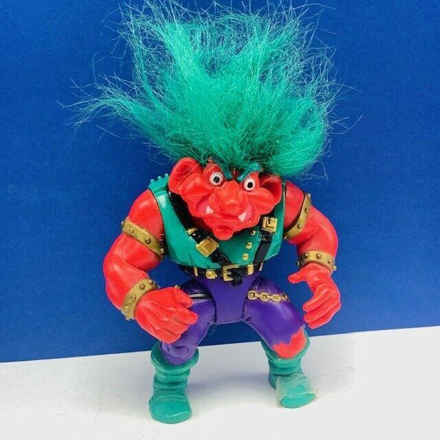 Trolls action figure toy vtg retro Warrior Battle applause green hair red armor