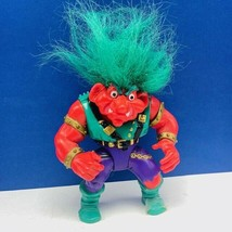Trolls action figure toy vtg retro Warrior Battle applause green hair re... - $14.45