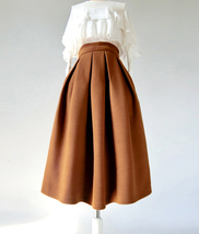Winter Wool-Blend Skirt Brown Midi Party Skirt Outfit Plus Size image 13