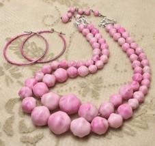 Vintage Pastel Spring Ping Bead Multi-Strand Necklace Hoop Earrings Demi... - $19.78
