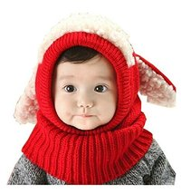 Unique Winter Baby Hat/Cap Useful Warm Cute Woolen Baby Hat with Scarf Red