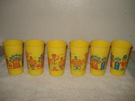 6 Vintage Mcdonald's Plastic Yellow Cups Ronald Hamburglar Mcheese 1960s - $49.49
