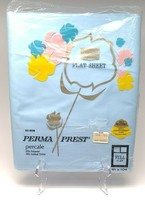 Vintage Sears Perma Prest Percale Full Flat Sheet Blue - $19.79