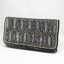 Bridal Clutch, Wedding Clutch, Black Evening Bag, Silver Beaded Clutch, ... - $112.64