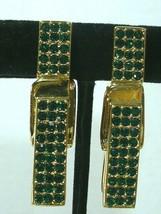 Swarovski Clothespin  Green RHINESTONE clip on earrings - $18.79