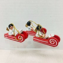 3 Vintage Red Wood Sleighs with Gifts & Angels Christmas Tree Ornaments - $14.36