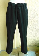 MARNI Pants Black Wool Cropped Button Pocket Hidden Drawstring Waist 42 - $117.81