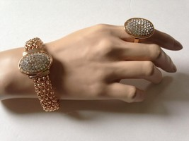 Gold Plated, Paved Rhinestones, Bracelet and Adjustable Ring Set - $17.05