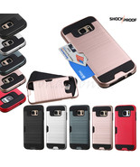 For Samsung GALAXY S7 /Edge Hybrid Shockproof Rugged Card Holder Case Co... - $7.47