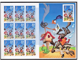 Wile E. Coyote & Road Runner Looney Tunes Sheet of 10 33-Cent Stamps - $9.88