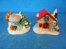 """THE ORIGINAL SNOW VILLAGE """"CAT AND DOG"""" SET OF 2 CERAMIC ACCESSORIES-VIN... - $15.83"""