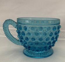 Vintage Blue Hobnail Glass Coffee Tea Cup - $17.75
