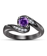 Purple Amethyst Womens Wedding Engagement Ring 14k Black Finish 925 Soli... - £56.38 GBP
