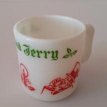 Hazel Atlas Tom and Jerry Christmas Egg Nog Milk Glass Christmas - W1-42A - $5.45