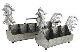 Set of 2 Galvanized Rooster Planters - $119.95