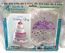 Wedding Cards Handmade Collection 4 Cards and Envelopes Handcrafted New ... - $14.95