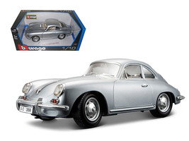 1961 Porsche 356B Coupe Silver 1/18 Diecast Car Model by Bburago - $62.02