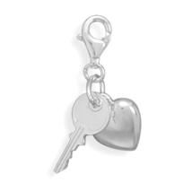 Sterling Silver Heart and Key Charm with Lobster Clasp - $27.95