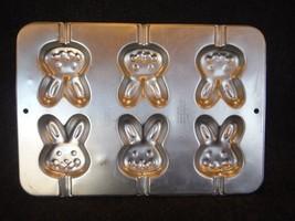 Wilton Mini Bunny Heads Cake Pan Mold 1992 Aluminum #2105-4426 used - $8.99