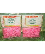 4mm ROUND BEADS THE BEADERY PLASTIC PINK 2 PACKAGES 1,600 COUNT - $3.99