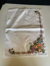 Completed Cross Stitch Table Wear Placemat Country Decor 19x14 Cornucopia - $13.85