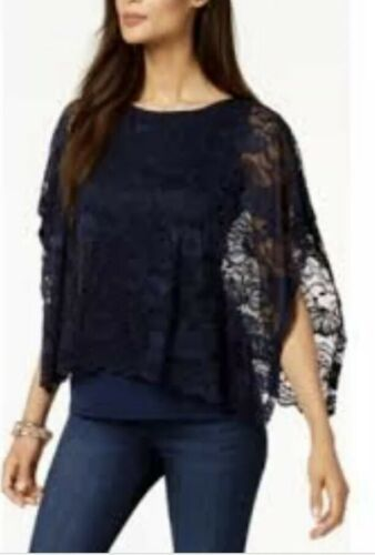 New $55 JM Collection Lace-Overlay Poncho-Sleeve Navy Blue Top Shirt Blouse Lg