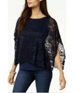 New $55 JM Collection Lace-Overlay Poncho-Sleeve Navy Blue Top Shirt Blo... - $23.22