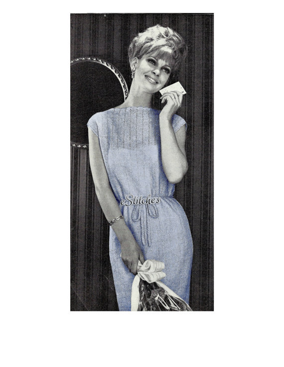 Primary image for 60s Simple Shift Dress with Scalloped Edge - machine knitting pattern (PDF 1213)
