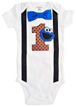 Perfect Pairz Baby Boys 1st Birthday Outfit Cookie Monster Bodysuit 6M-S... - $28.35