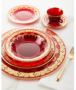 High Class Elegance Vintage Style 24k Gold Scroll Accent Red Dinnerware Set - $5,500.00