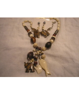 1 set Handcrafted African style Necklace & Earrings Wood, Ceramic Wholes... - $42.00