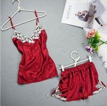 2pcs Red Sexy Lace Set Pajama Set Kigurumi Silk Satin Pajamas Sleeveless - $24.70