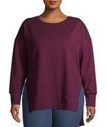 Terra & Sky Women's Plus French Terry Sweatshirt Size 5X (32-34) Wine Fu... - $22.76