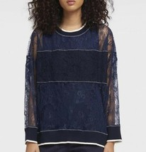 DKNY Donna Karan Size M Lined Lace sweatshirt Pullover top w/ribbed trim - $127.99