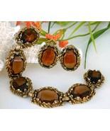 Vintage Smoky Brown Quartz Link Bracelet Earrin... - $74.95