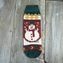 Vintage Bottle Cover Stocking Knitted Knit Christmas Wool Snowman Red Green - $29.69