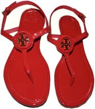 $225 Tory Burch Dillan Flat Sandals Leather Gold Logo Thongs Flip Flop 6... - $157.00